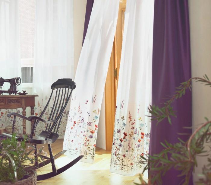 おしゃれな刺繍ボイルレースカーテン フィール