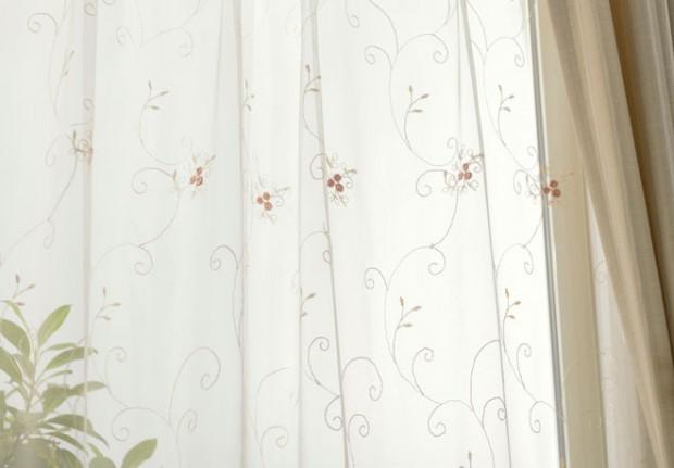 小バラ2色刺繍レースカーテンオペラ