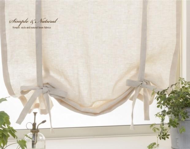 リボンアップフラットスタイル 小窓カーテン