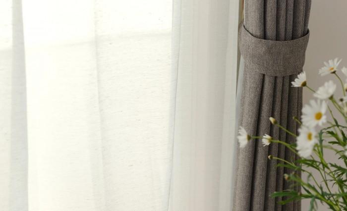 コットンをブレンドした自然素材風のミラーレースカーテン コトブレ