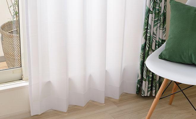 シンプルで使いやすい無地デザインの多機能レースカーテン