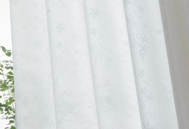 ほんのりとした透け感も楽しめる人気のUVカットレースカーテンです