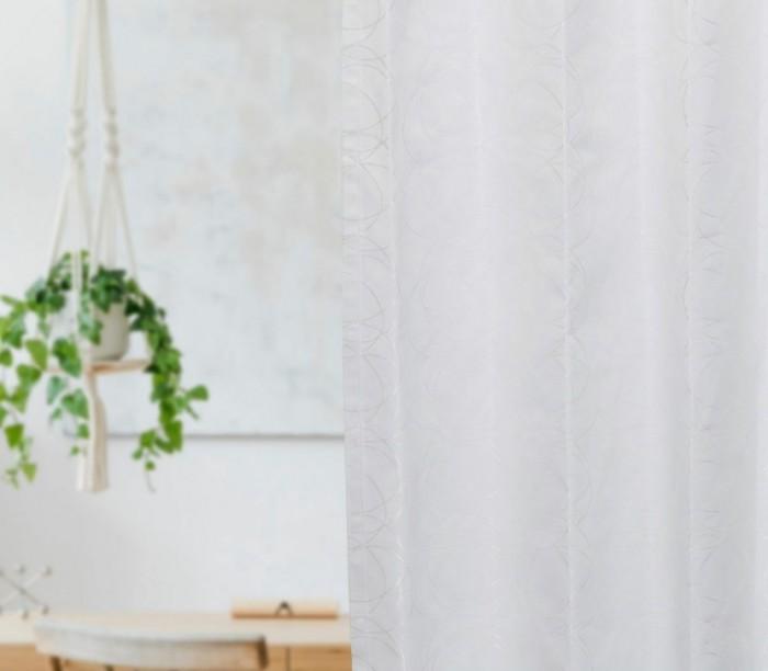 重なるサークル柄をジャガード織で表現した 遮光率100% 完全1級遮光カーテン ロタシオン