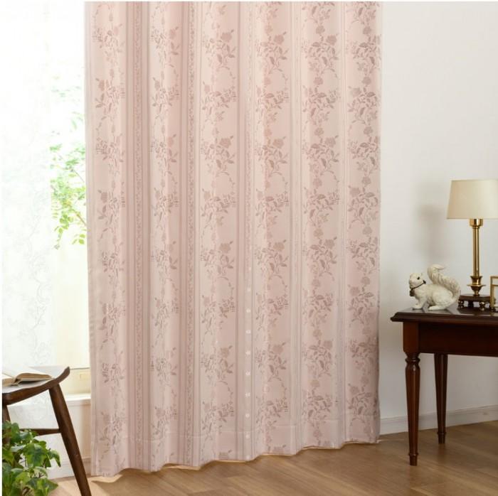 光沢のある花柄が美しい裏地付き3級遮光カーテン ソフィー