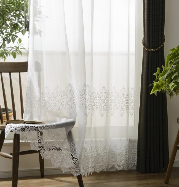 エレガント裾刺繍レースカーテン ノーブル