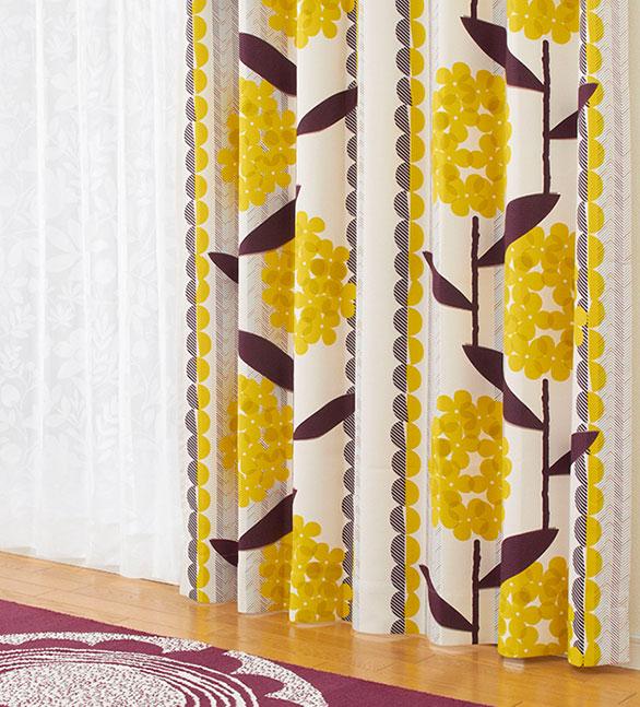 レトロモダンな花柄デザインカーテン