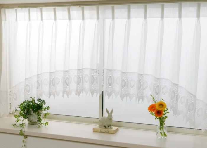 スタイルが選べるオーダー出窓カーテン ジョゼット