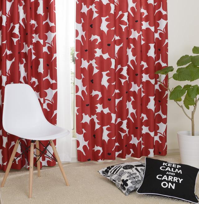 北欧モダンの赤色カーテン