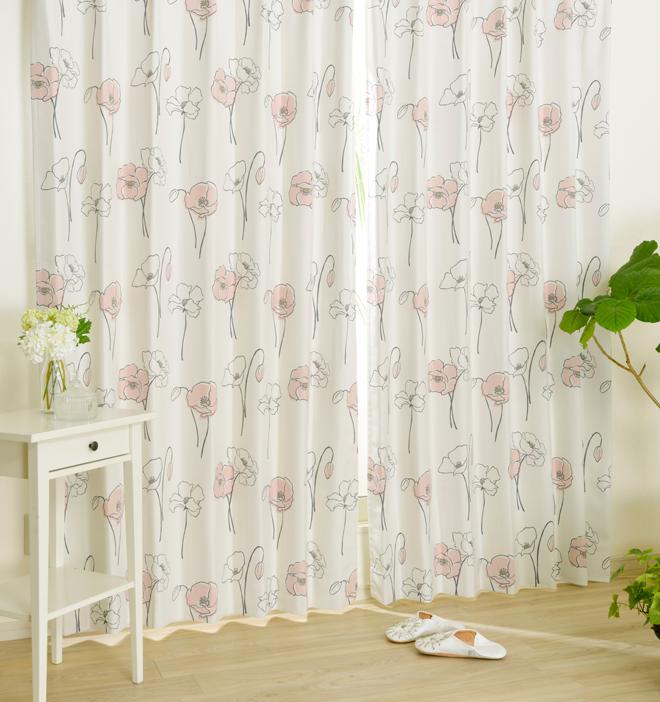 おすすめのふんわり花柄2級遮光カーテン ポピー