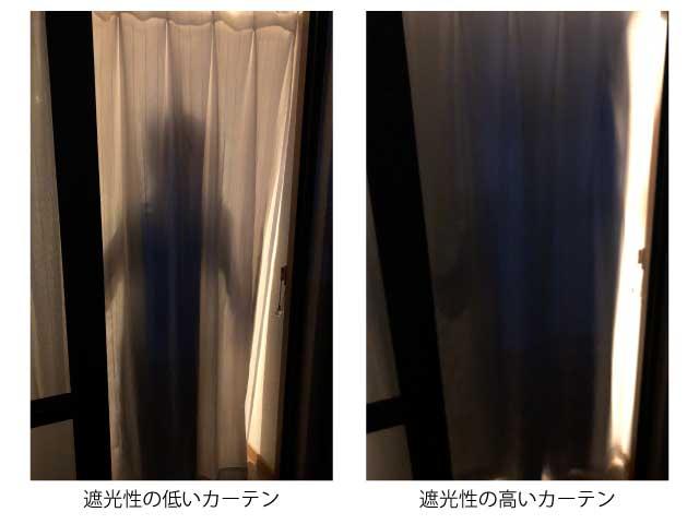 遮光性の度合いによる透け方の比較