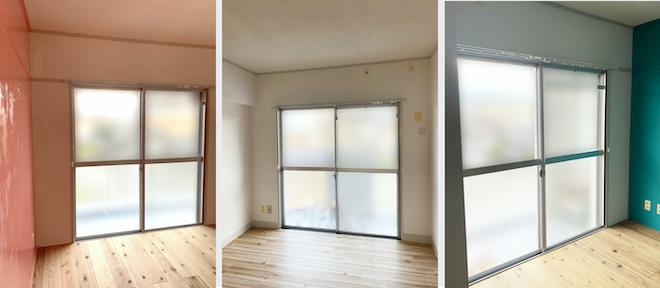 引越し予定の家で内覧時に撮影した3部屋の画像。それぞれのお部屋の壁の色や床の色に似合うカーテンを、写真からイメージする。
