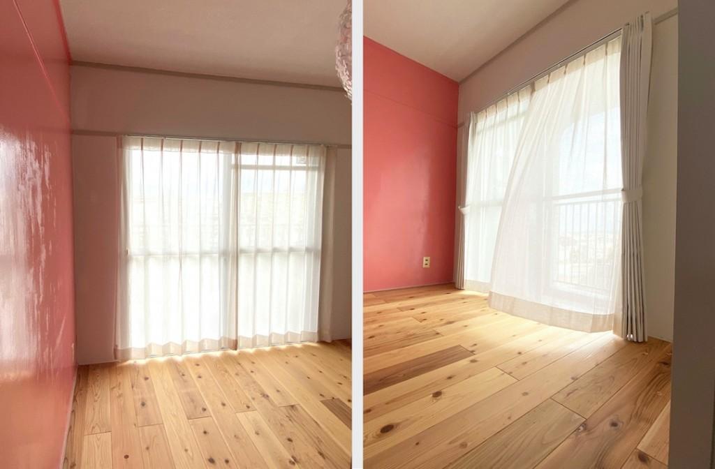 コーラルピンクの部屋_レースカーテン